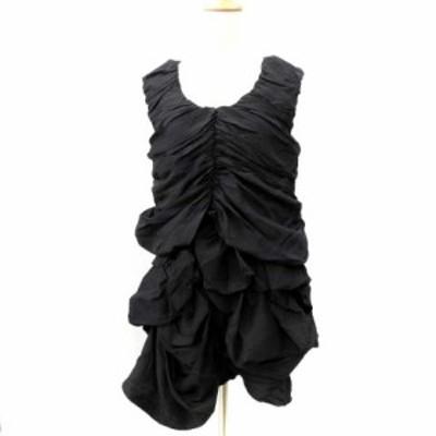【中古】ズッカ ドレス ワンピース ミニ ノースリーブ バルーン タイト Iライン シルク 無地 黒 M IBS71 レディース