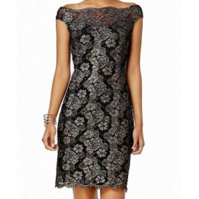 ファッション ドレス Connected Apparel NEW Black Womens Size 6 Floral Lace Sheath Dress
