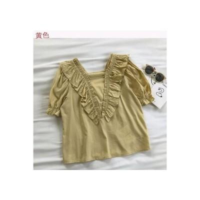 【送料無料】夏 折り畳む レース 荷 葉 袖 フェアリー シャツ 女 韓国風 半袖 | 346770_A62830-6333180