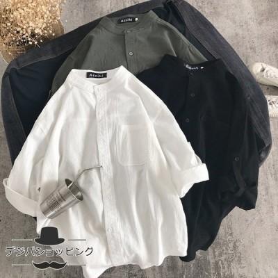 ブラウス シャツ トップス 長袖シャツ シャツブラウス 前開き メンズ 男性 長袖 無地 シンプル ポケット付き 綿 コットン 体型カバー ゆったり ファッション 秋