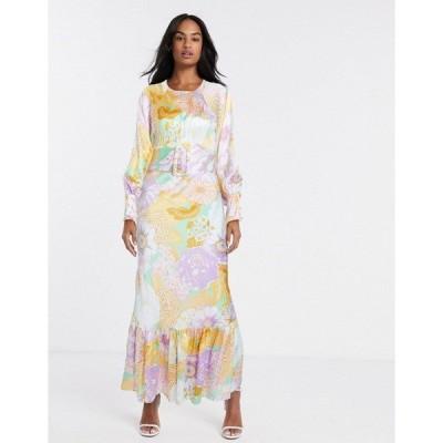 エイソス レディース ワンピース トップス ASOS DESIGN belted maxi tea dress with balloon sleeve in floral print Maison boheim floral