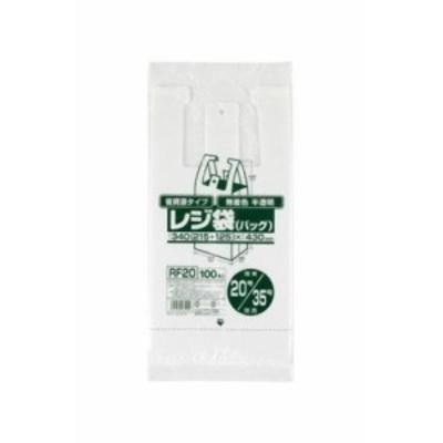 省資源レジ袋東20西35号100枚入HD半透明RF20 【まとめ買い(60袋×5ケース)合計300袋セット】 38-390