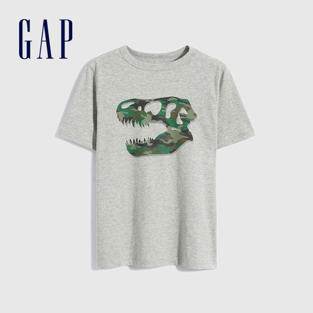 Gap 男童 純棉創意印花短袖T恤 696619-灰色
