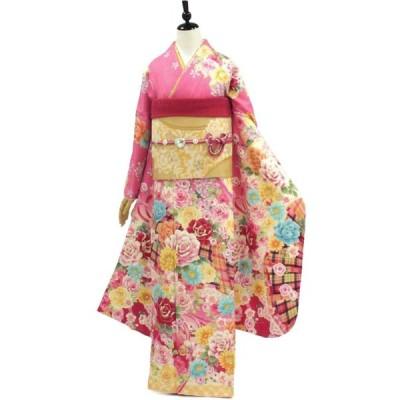 正絹振袖+半衿付き長襦袢+帯+帯揚+帯〆+重衿 6点セット  ハートとチェックの誘惑ピンク着物だけなら36,300円(税込)