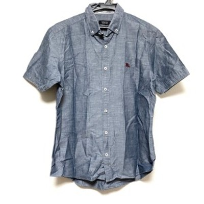 バーバリーブラックレーベル Burberry Black Label 半袖シャツ サイズ3 L メンズ 美品 - ネイビー【中古】20210403
