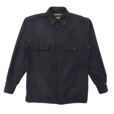 古着 フェイクスウェードシャツ 長袖 ブラック サイズ表記:S