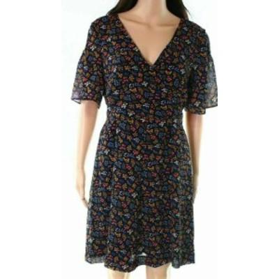 Madewell メイドウェル ファッション ドレス Madewell NEW Blue Womens Size 0 Floral-Print Tie-Waist A-Line Dress