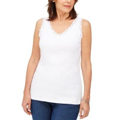 ケレンスコット カットソー トップス レディース Petite Cotton Lace-Trim Tank Top, Created for Macy's Bright White