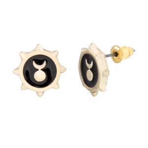 Steve Madden Women's Black Enamel Crescent Moon Sun Gold-Tone Stud Earrings