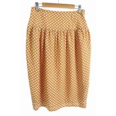 【中古】ブッシュ BUSH スカート ひざ丈 コクーン ドット オレンジ 白 ホワイト /JN20 レディース