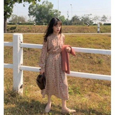 花柄 ワンピース ロング フレア ハイウエスト 長袖 ゆったり レトロ 大人可愛い 韓国 オルチャン ファッション