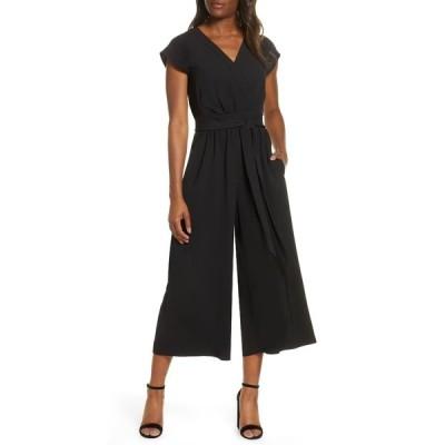 エリザジェイ レディース ワンピース トップス Faux Wrap Crop Jumpsuit BLACK