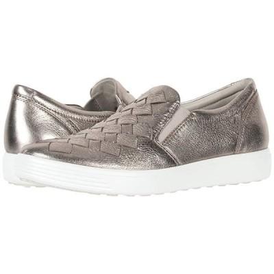 エコー Soft 7 Woven Slip-On レディース スニーカー シューズ 靴 Warm Grey Cow Leather