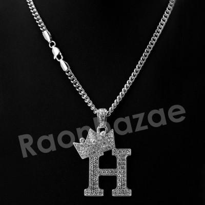 """チェーン ネックレス アメリカン ヒッピホップ ジュエリー Iced Out Silver Crown H Initial Pendant  w/ 24"""" Cuban / Tennis Chain Necklace"""