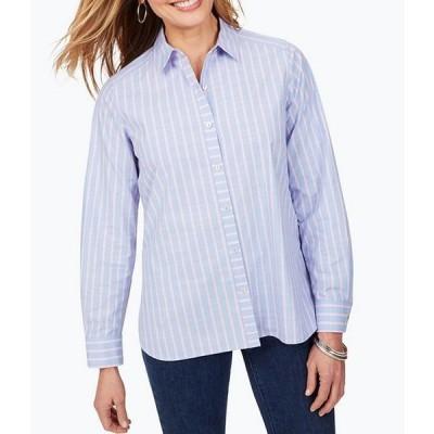 フォックスクラフト レディース シャツ トップス Anya Boyfriend Striped Button Front Shirt