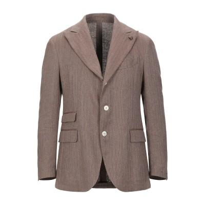 ガブリエレ パジーニ GABRIELE PASINI テーラードジャケット ブラウン 50 コットン 47% / リネン 46% / ポリエステル