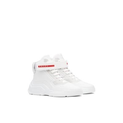 プラダ PRADA スニーカー シューズ 靴 ビアンコ ホワイト ファブリック ヌバックレザー