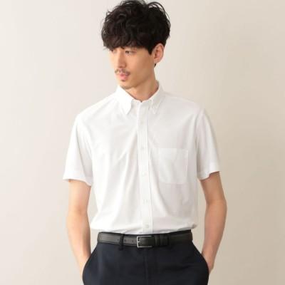 トリコットストライプ ボタンダウン半袖シャツ