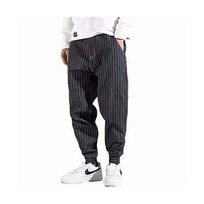 YIMANIE デニムパンツ サルエルパンツ メンズ ワイドパンツ 大きいサイズ テーパード 長ズボン オールシーズン ストライプ 和風 復