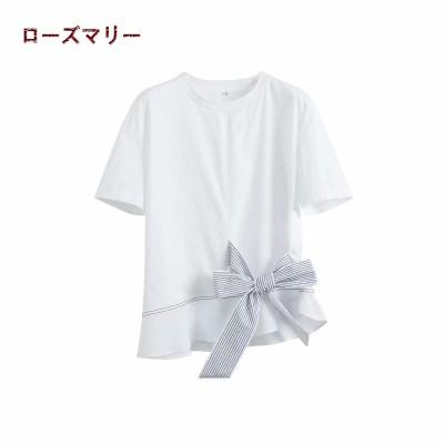 ローズマリー 欧米風2020 🌸 春 夏  リボン 半袖Tシャツ  トップス  ベーシック  大人気   レジャー  可愛い  202004069