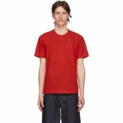 コム デ ギャルソン Comme des Garcons Play メンズ Tシャツ トップス red double hearts t-shirt Red