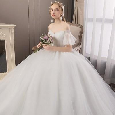 ウエディングドレス ブライダル ブライズメイド プリンセス 純白 結婚式 披露宴 花嫁 フリル オフショルダー