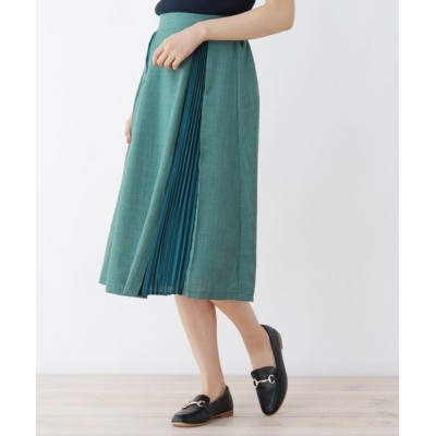 WORLD ONLINE STORE SELECT / リネン調プリーツ切り替えスカート WOMEN スカート > スカート