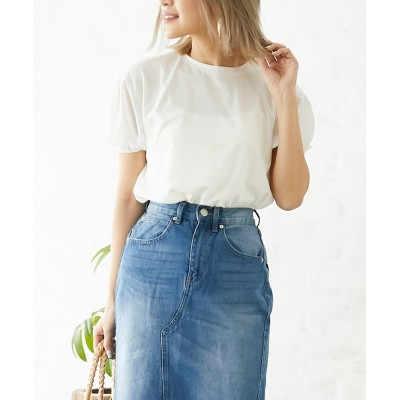 【シルキー】 シアーボリュームスリーブTシャツ レディース オフホワイト FREE Silky