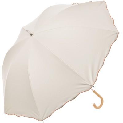 レディース 【在庫限り】日傘 裾加工ショート長ロック刺繍 ベージュ 50cm