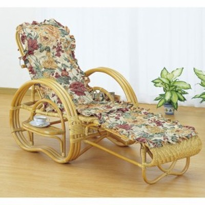 カバー付 籐寝椅子 折りたたみ式 座面高35cm A200M リクライニング チェア 椅子 座椅子 籐 ラタン