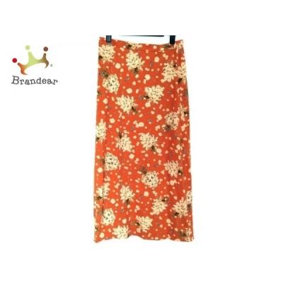 ピンクハウス ロングスカート サイズL レディース - オレンジ×アイボリー×マルチ 花柄   スペシャル特価 20210426