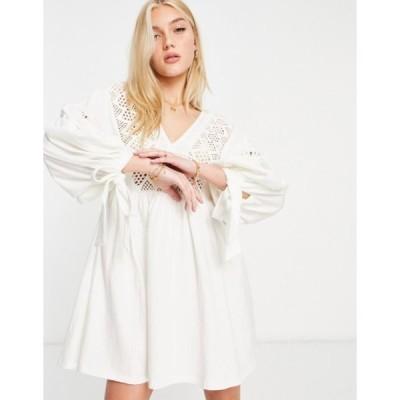 エイソス レディース ワンピース トップス ASOS DESIGN mini dress with volume sleeves and embroidery neckline