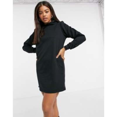 エイソス レディース ワンピース トップス ASOS DESIGN padded shoulder hoodie sweater dress in black Black