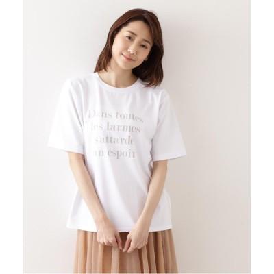 【ナチュラルビューティーベーシック】 ニュアンスロゴTシャツ レディース オフ1 M NATURAL BEAUTY BASIC