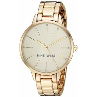 腕時計 ナインウェスト レディース Nine West Women's Crystal Accented Gold-Tone Bracelet Watch