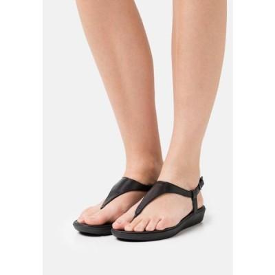 フィットフロップ レディース 靴 シューズ LAINEY TOE POST - T-bar sandals - all black