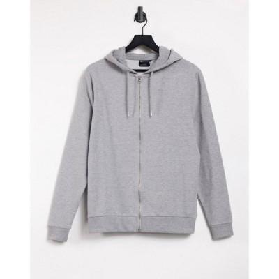 エイソス ASOS DESIGN メンズ パーカー トップス organic lightweight zip up hoodie in grey marl グレー