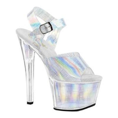 プリーザー レディース オックスフォード シューズ Sky 308N CRHM Platform Ankle Strap Sandal Silver Hologram TPU/Silver Hologram