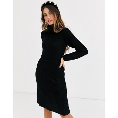 キューイーディーロンドン レディース ワンピース トップス QED London cowl neck sweater dress in black