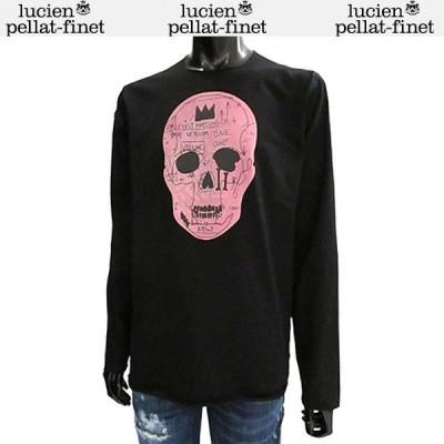 ルシアンペラフィネ lucien pellat-finet メンズ Tシャツ 長袖 トップス ロンT スカルプリント入りロングTシャツ 色違い(黄/ピンク/白)あり EVH1956 BLACK  71A