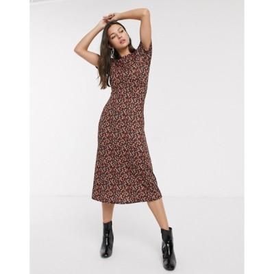 ニュールック レディース ワンピース トップス New Look ruched sleeve midi dress in ditsy floral