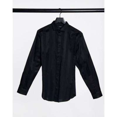 ジャック アンド ジョーンズ Jack & Jones メンズ シャツ トップス Premium shirt in satin stripe black ブラック