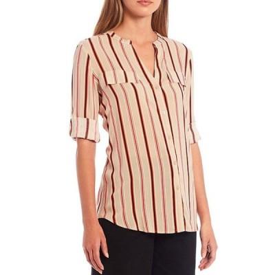 カルバンクライン レディース シャツ トップス Stripe Print Rayon Roll-Tab Sleeve Button Front Top