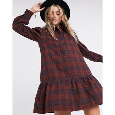 オンリー レディース ワンピース トップス Only mini shirt dress with pephem in check print Red check