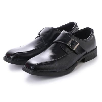 エニーウォーク Anywalk 紳士ビジネスシューズ・スワールモカ モンクストラップ 流れモカ 型押しパンチング模様 ブラック・aw_16112 (BLACK)
