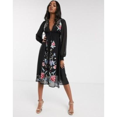 エイソス レディース ワンピース トップス ASOS DESIGN embroidered long sleeve button through midi dress with shirred waist Black