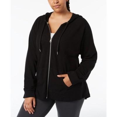 カルバンクライン ジャケット&ブルゾン アウター レディース Plus Size Ruched-Sleeve Zip Hoodie Black