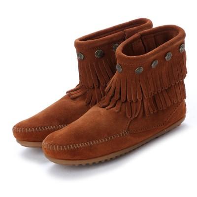 ミネトンカ Minnetonka Double Fringe Side Zip Boots (ブラウン)
