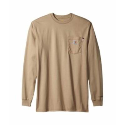 カーハート メンズ シャツ トップス Big & Tall Flame-Resistant Force Cotton Long Sleeve T-Shirt Khaki