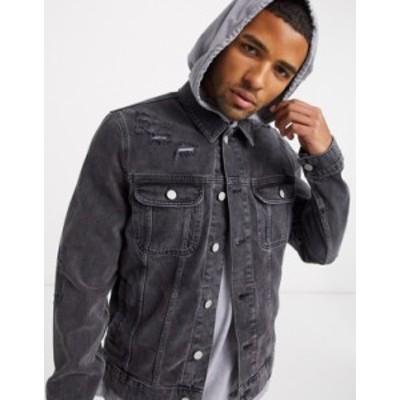 エイソス メンズ ジャケット・ブルゾン アウター ASOS DESIGN denim jacket in washed black with rips Black